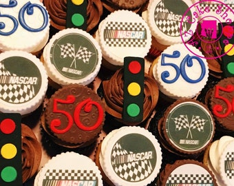 Edible Nascar Inspired Fondant Cupcake Toppers