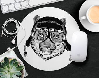 Cat Mouse Pad Animal in Glasses Cute Mouse Mat Funny Kid Mouse Pad Leopard MousePad Hipster Mouse Mat Desk Accessories Animal Lover Gift