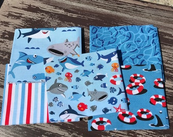 "Shark Fabric, Ocean Fabric, ""Sharktown"" by Riley Blake, 5 Piece Fat Quarter Bundle in Blue, Cotton"