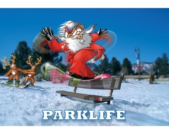 SNOWBOARD CHRISTMAS CARD - Parklife - Funny Christmas card