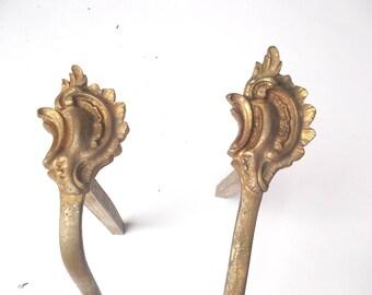 Pair Antique FRENCH Ormolu Bronze Curtain Tie Backs.  Bronze Rococo Curtain Tie Back.  Curtain Pole Bracket