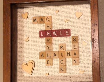 Scrabble Family Name Shadowbox