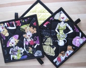 Hot Pad, Oven Mitt, Loralie Designs®, Ladies Tea, Kitchen, Insul Bright, Yellow, Housewarming, Co-worker gift, shower gift
