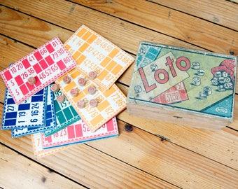 Box Vintage Holz Lotto - Box alte französische Spiel - Kind Spiel - chips Bingo Zahlen - box farbigen 50er Jahre
