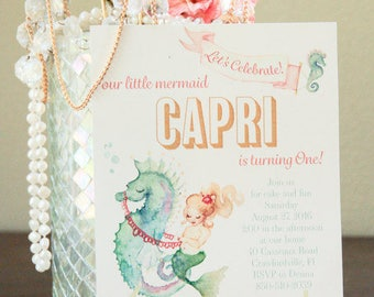 Mermaid invitations - Mermaid birthday Invitations - Custom mermaid invitations - Mermaid baby shower invitations