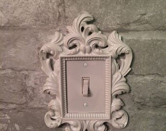 White light switch cover, floral frame, single switch, vintage look, shabby chic