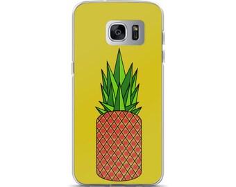 Retro Pineapple Samsung Case, original design, yellow, red, green, gift idea, present, phone case, geometric