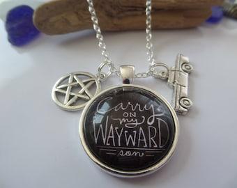 supernatural necklace, supernatural, winchester brothers gift, wayward son gift, castiel, pentagram necklace, supernatural gift, fandom gift