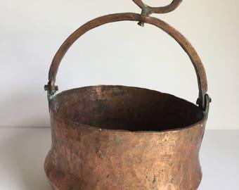 Old Hammered Hanging Copper Pot