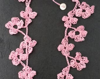 Crocheted Linen Flower Necklace with Glass Beads