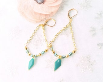 fancy dangle earrings, gold and turquoise, gold plated 14 k, glass bead and gold plated Tibetan silver bicone bead