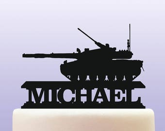 Personalised Acrylic Army Battle Tank Birthday Celebration Party Cake Topper