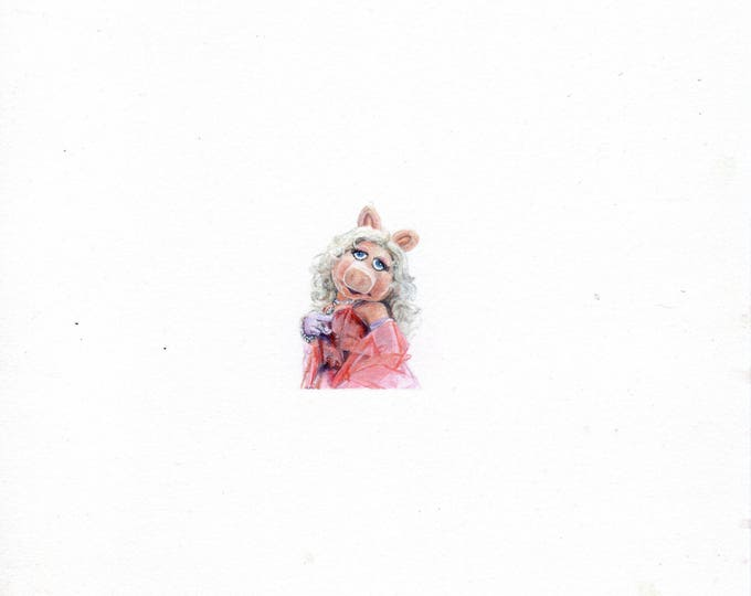 "Print of miniature painting of Ms. Piggy. 1 1/4 x 1 1/4"" print of Ms. Piggy painting on 5"" square german etching paper"