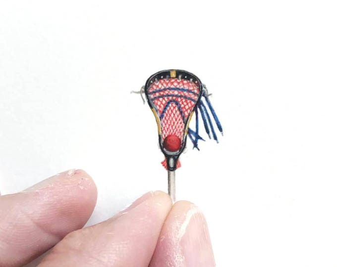 Print of miniature watercolor painting of lacrosse stick.  giclee print of lacrosse