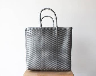 Silver Woven Tote bag, Picnic Basket, Beach Bag, Getaway Bag, Picnic Bag, Weekend Bag, Travel Bag, Mexican Gift, Mexico Bag