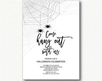 spooky halloween party invitation diy spider web black halloween invite - Evite Halloween Party