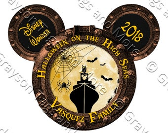 UPDATED!!  Personalized Disney Halloween on the High Seas Porthole Cruise Door Magnet