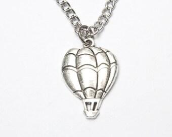 Hot Air Balloon Necklace, World Traveler, Whimsical Necklace, Silver Hot Air Balloon Charm, Hot Air Balloon Jewelry, Handmade, Pendant