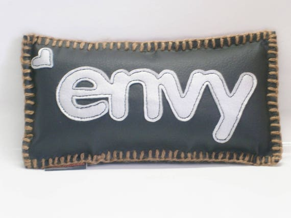 Original cushion Deco! ENVY! faux leather black and silver size, 31 cm 18 cm belicious delicious creation