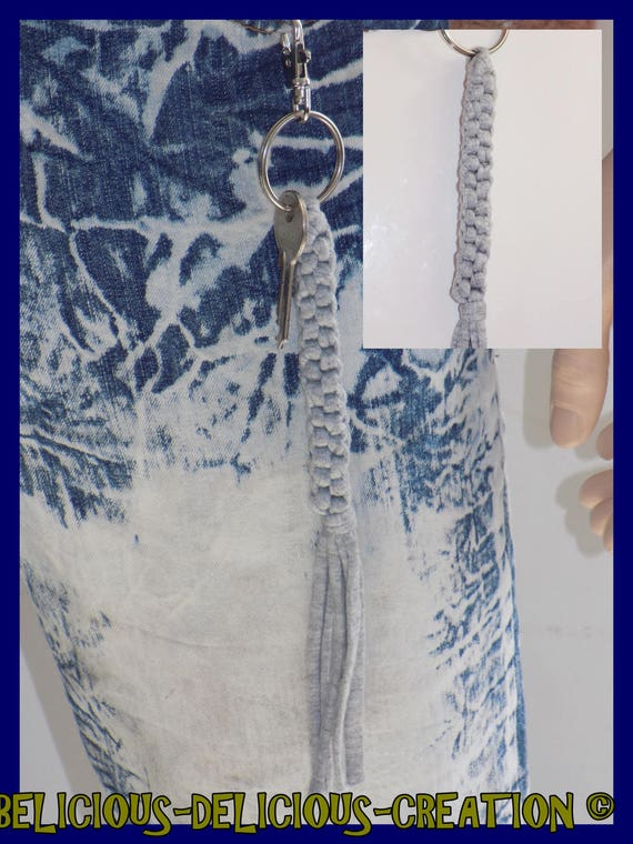 Original Porte clés homme !! GRAY !! tresse  carre en coton gris et metal,long 22.5cm x 1cm belicious-delicious-creation