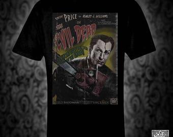 Evil Dead vintage style movie poster T-shirt, retro film horror vincent price  zombie monster demon christmas birthday valentine