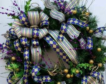 Mardi Gras Wreath - Mardi Gras Door Wreath - Mardi Gras Door Decor - Mardi Gras Decorations - Fat Tuesday Wreath = Fat Tuesday Decor - Gift
