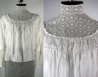 Antique Edwardian white cotton blouse Gibson Girl lace long sleeve size Xsm-small