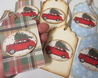 6 Rustic-Retro Christmas Car Gift Tags-Christmas Tags-Christmas Decor