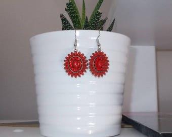 """Simple """"Ruby Red"""" earrings"""