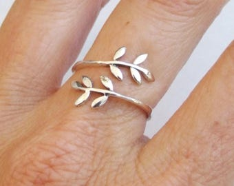 Sterling Silver Ring, Silver Ring, Adjustable Ring, Leaf Ring, Leaves Ring, Branch Ring, Silver Wrap Ring, Floral Ring, Silver Band Ring