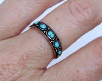 Bronze Ring, Turquoise Ring, Stone Ring, Ethnic Ring, Tribal Ring, Band Ring, Stacking Ring