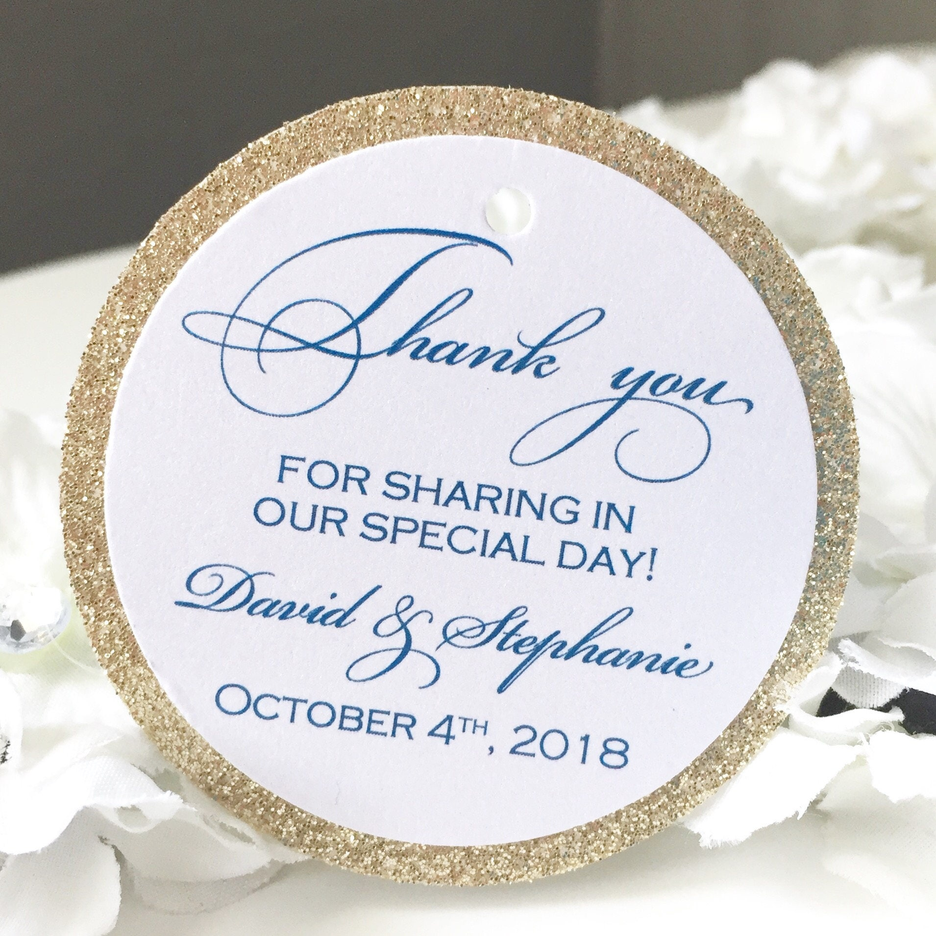 Set of 25 Wedding Thank You Tags - Midnight Blue Thank You Tag ...