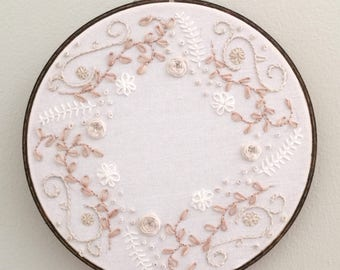 "Neutral Floral | 8"" Embroidery Hoop"