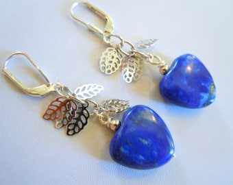 Long earrings, Lapis lazuli and silver.
