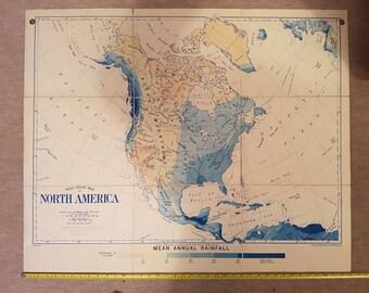 Vintage Bacon's North America Rainfall school/wall map