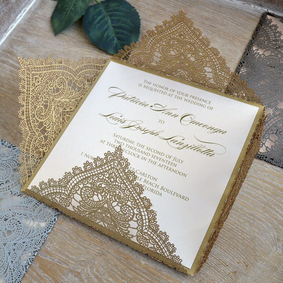 CHANTILLY LACE Laser Cut Wrap Invitation - Gold Square Laser Cut Wedding Invitation with Ivory Shimmer Insert and Belly Band