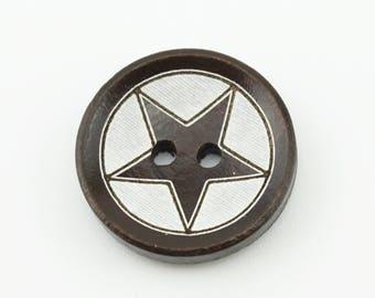 50pcs 20mm Wood Buttons Wooden Star Button Accessories NK