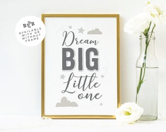 Dream Big Baby 8x10 Print | Dream Big Little One Quote Print | Nursery Wall Art | Nursery Print |  Illustrated Baby Quote Print