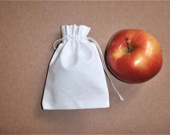 "Custom Drawstring Bags * Jewelry Bags * Small White Canvas Pouches * 15 pcs Bags * 3""x4"" (8cm x 10cm)"