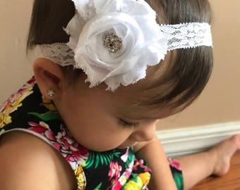 Baby Headband,White Baby headband, Pink Baby headband, Pink Headband, Lace headband Photo Prop, Headband for newborns, infant headband