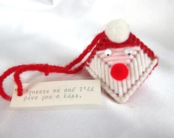 Kissing Santa Ornament, Vintage Needlepoint Christmas Package Tie On
