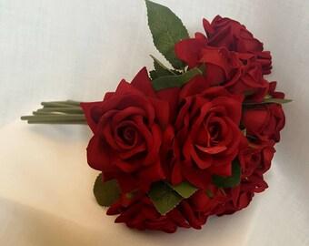 Red velvet roses bride's maid  bouquet