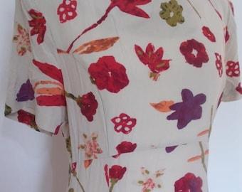 summer sale Vintage dress 90s Alexon cream floral silk dress square neck size small