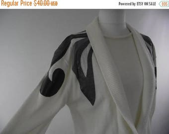 summer sale Vintage 80s Sweater dress jumper dress by Compris by M Team cream knitted faux leather detail size medium large