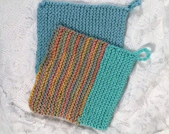 set of 2 Multi colored hnd knitted washcloths