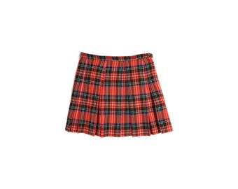 Vintage 70's Red Tartan Plaid Pleated Skirt