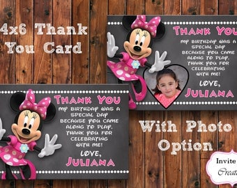 Minnie Mouse Thank You Card, Minnie Mouse Birthday Thank You, Minnie Invitation, Minnie Mouse Theme, Pink Minnie, Photo Thank You Card