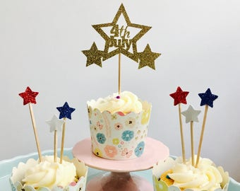 12ct Glitter Fourth of July Cupcake Topper, 4th  of July cupcake toppers, Independence Day cupcake toppers