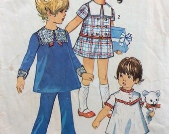 Simplicity 8567 girls dress and pants size 6 or size 6x vintage 1960's sewing pattern