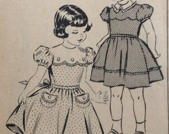 Mail order 2397 girls dress w/full skirt size 4 vintage 1940's sewing pattern